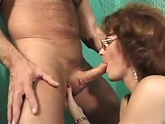 Nice mature in lingerie sucks cock