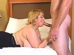 Chubby mature sucking strong cock