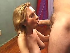 Horny blonde mature sucks fat dick