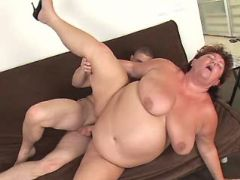 Flabby mature drilled by greedy guy
