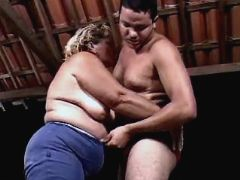 Old chubby woman seduces latino guy