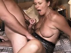 Mature fucks and gets cum on tits