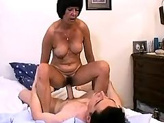 Old wife happy to ride young cock