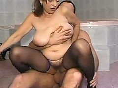 Sexy mom fucks on floor in bathroom