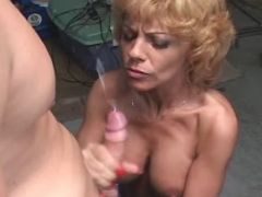 Chesty mature gets cum after fuck