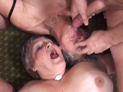 Two lewd grannies fuck n taste cum