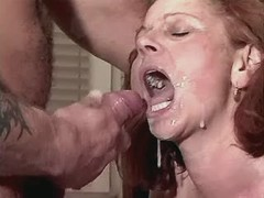 Mom fucks in kitchen and drinks cum