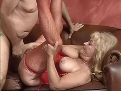 Lusty granny sucks cock and fucks