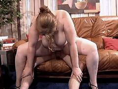 Busty mature sucks n jumps on cock