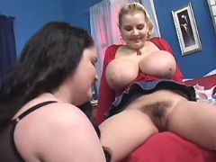 Teen chubby lesbians relax in bed