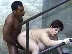Black guy sucked and fucks fat lady