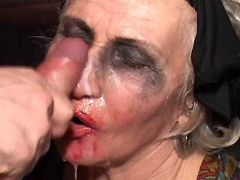 Aged widow gets cumload on face