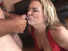 Fat blonde mature gets cum on face
