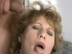 Chubby elder mom gets cum on face