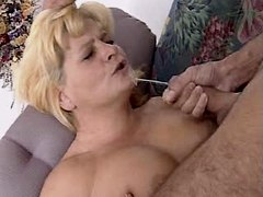 Guy fucks granny and jizzes on face