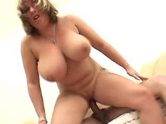 Mature plays w cock and rides him