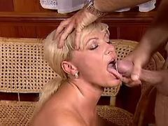 Blonde mature gets cumload in mouth