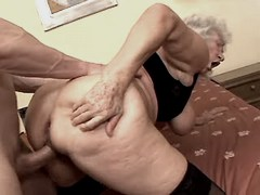Depraved grandmom fucks from behind