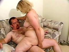 Plump mature lady hammered on table
