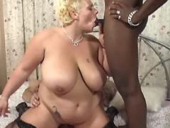 Interracial guys share fat blonde